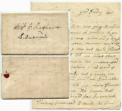 Gb 1840 Long Letter Rawlinson Easter Good Friday Silverdale Lancaster