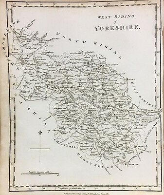 1795 West Yorkshire Original Antique Map By Stockdale 221 Years Old
