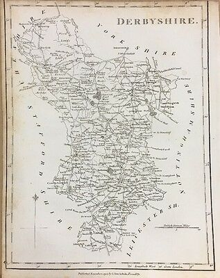 1795 Derbyshire Original Antique Map By Stockdale 221 Years Old