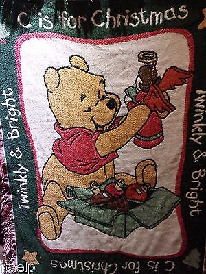 Winnie the Pooh Christmas Blanket, C is for Christmas, Twinkly & Bright Throw