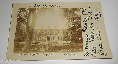 Vintage Postcard, The Vicarage, Fressingfield, Suffolk 1904. REAL PHOTOGRAPH.