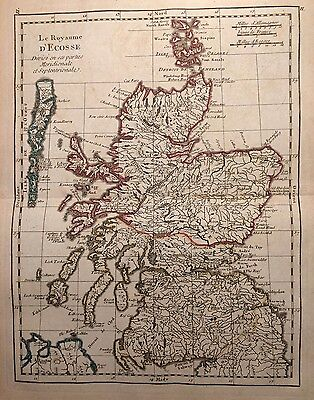 1756 Scotland By Le Rouge Original Hand Coloured Antique Map 260 Years Old