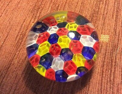"Millefiori 2.5"" Yellow, Red, White & Blue Paperweight"