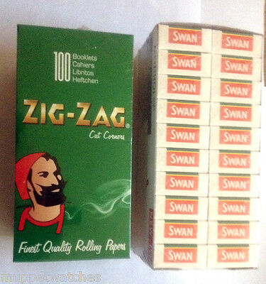 FULL BOX of 100 Packs ZIG ZAG PAPERS and 20 Boxes SWAN MENTHOL FILTER CIG TIPS