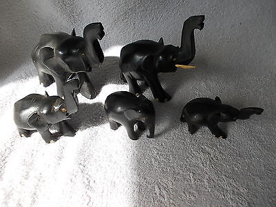 Elephant Collection Of 5 Black Wooden Carved Elephants Some Missing Tusks