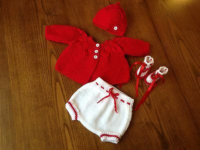 Pretty Hand Knitted Four Piece Outfit For Newborn/ Reborn Baby 16-18 Inch