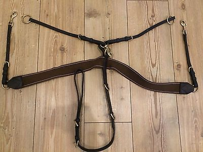 Brown V-check 3 Point Breastplate
