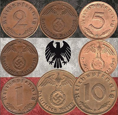 Set of  Nazi Germany 1, 2, 5 & 10 Reichspfennig coins 1937-1939 WWII  (#M129)