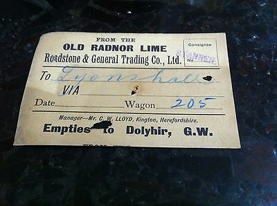 Old Radnor Lime.  Stanner  To  Lyonshall    Wagon Label