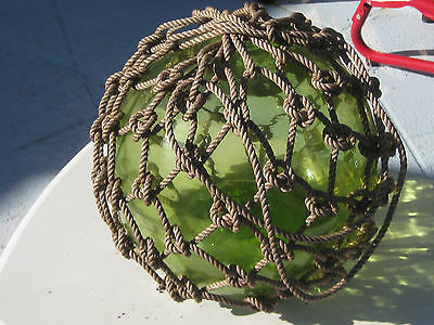 Japanese Glass Fish Net Floats - Lime Green - Large