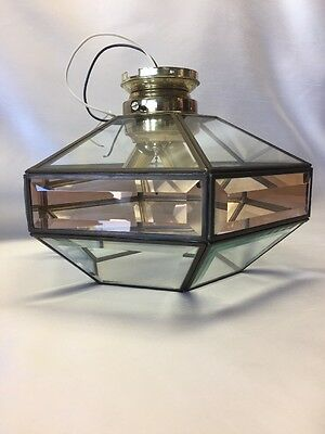 Mid Century Modern Signed Fredrick Ramond Beveled Glass Brass 3 Ceiling Light