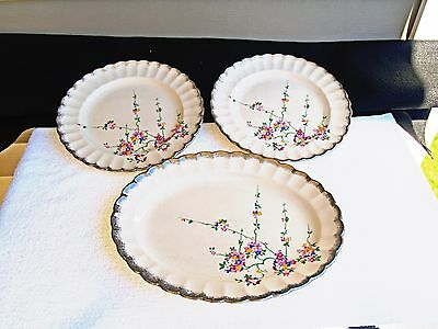 Sebring Platter and Two Matching Plates with Flowers Ivory Porcelain