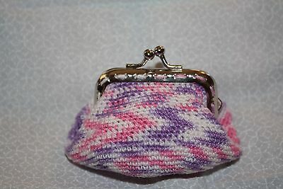 Pink and purple crocheted bag