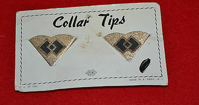 Vintage Metal Collar Tips, Double Diamond, brushed Gold, Providence. FLW Comp.