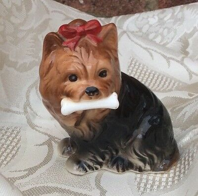 Pretty China Yorkshire Terrier Dog Figure/Figurine With Bow And Bone In Mouth