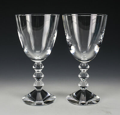 Pair of Baccarat Crystal Water Goblets in Vega Pattern, Signed