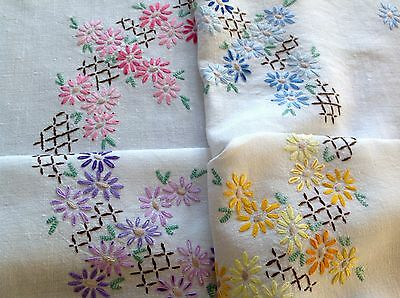 Vintage Hand Embroidered `off White Linen Table Cloth 40X42 Inches