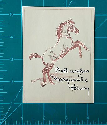 Marguerite Henry Signed Black Gold Horse Lithograph Bookplate