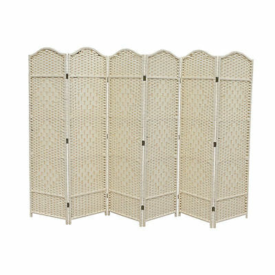 Dress Screen 6 Panel Creme Classic Woven Partition Divider
