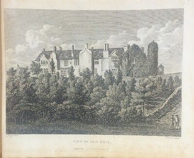1795 Worsley Old Hall Manchester Original Antique Copper Plate Engraving