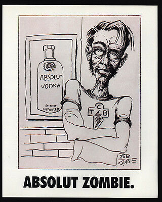 1995 ABSOLUT ZOMBIE - ROB ZOMBIE Vodka Bottle Art - VINTAGE AD