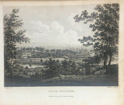 1795 View Of Manchester Original Antique Copper Plate Engraving