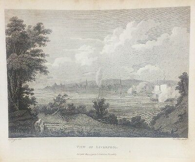 1795 View Of Liverpool From Wirral Original Antique Copper Plate Engraving
