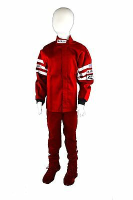 Junior 2 Pc Red Fire Suit Racing Jacket & Pants Size 14/16 Rjs Sfi 3-2A/1 Kids