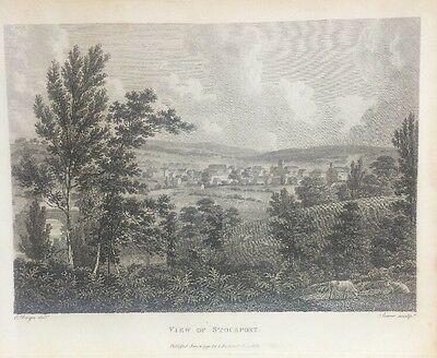 1795 View Of Stockport Original Antique Copper Plate Engraving