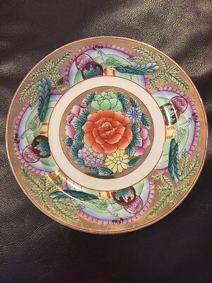 """Vintage Famille Rose 8"""" Plate With Peacocks Antique Chinese Porcelain"""