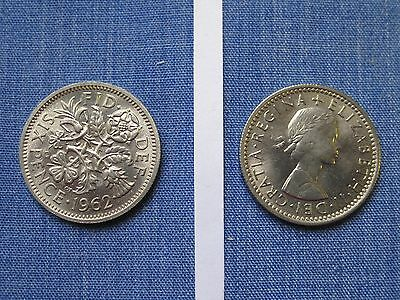 1962 Queen Elizabeth Second  Sixpence,  Mint Uncirculated