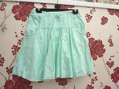 aqua lined very full skirt/ pockets/broderie anglais trim age 11-12 years BNWOT