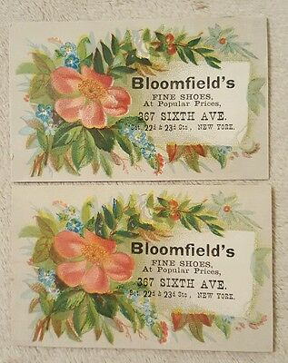 2 Antique Vintage Victorian Trade Cards Bloomfield's Shoes New York