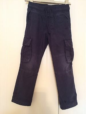 Boys M&S Navy Lined Cargo Bottoms Age 3-4 Years
