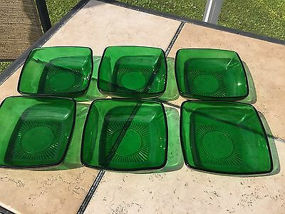 "Set Of 6 Anchor Hocking Charm Forest Green 6"" Cereal Bowls"