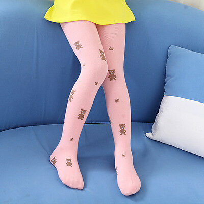 Girls Thick Pink Tights with Teddy Bears 6-7 years NEW