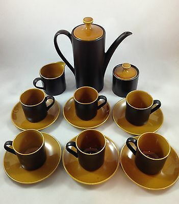 Myott InTone China Coffee Set Vintage15 Piece Two Tone Brown Color Made England