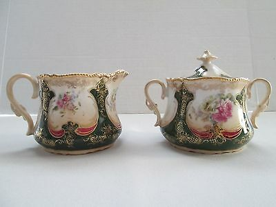 Vintage Creamer and Sugar Bowl White and Green With Pink Flowers/Gold Etchings