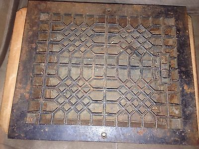 Vintage VICTORIAN Cast Iron Floor Grille 8 X 10 Heat Grate Register with Louvers