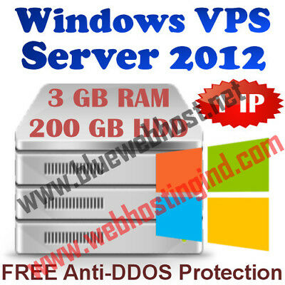 Windows Virtual Dedicated Server 2012 R2 (VPS) 3GB RAM + 200GB HDD + DDOS