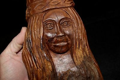 """Vintage Wooden Folk Art 11.5"""" African Hand Carved Wooden Beautiful Woman Statue"""