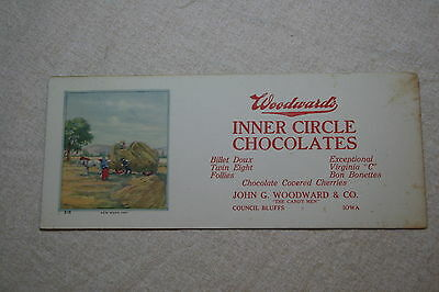 Woodward's Inner Circle Chocolates Advertising Ink Blotter (Council Bluffs Iowa)