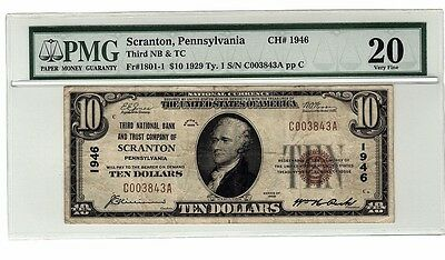 1929 $10 Scranton PA National Currency PMG VF 20 Ten Dollar Bank Note CH#1946