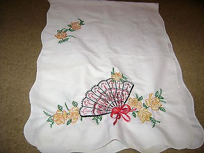"Vintage Hand Embroidered Table Runner...Floral/Fan...15""x40"""