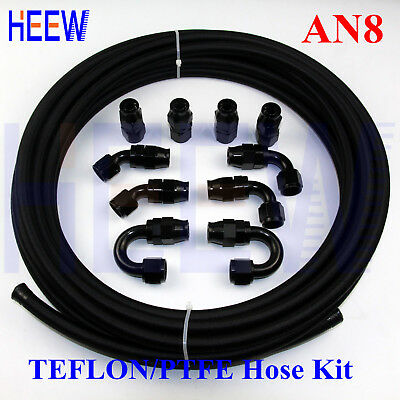 AN8 8-AN Teflon Braided OIL FUEL Line E85 PTFE Hose + fitting End Adaptor 10 M