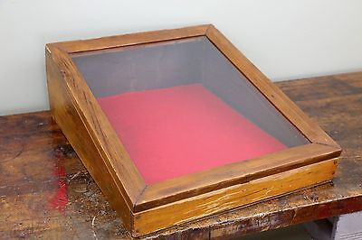 Vintage Wood & Glass Counter Top Display Case for Jewelry Antiques Smalls 23X19