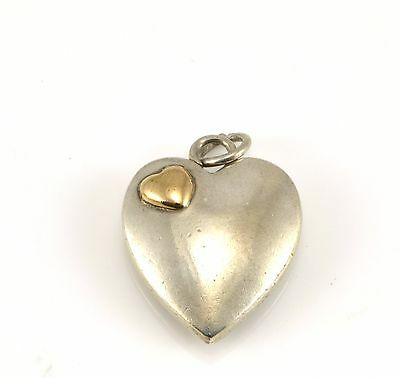 Sterling Silver And 14K Gold Doskow Heart Pendant