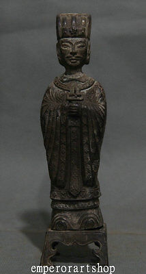 Old Chinese Dynasty Pure Purple Bronze Ancient Man Human Soldier Soldiers Statue