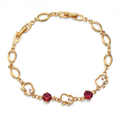 Girls Apple Chain Bracelet Fruit 18K Yellow Gold Plated Round Ruby
