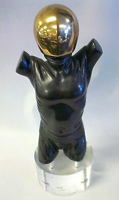 Signed Bronze Spaceman / Astronaut Sculpture on Lucite Base